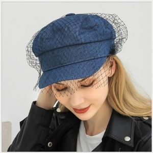 JUST IN!! Flat Denim Cap with Mesh & Lace